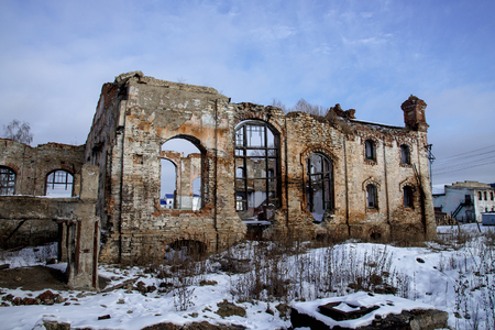 Old ruined brick building, destroyed and abandoned place.