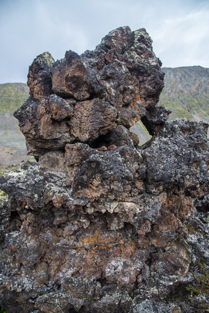 Frozen volcanic lava stone thousands of years after the eruption