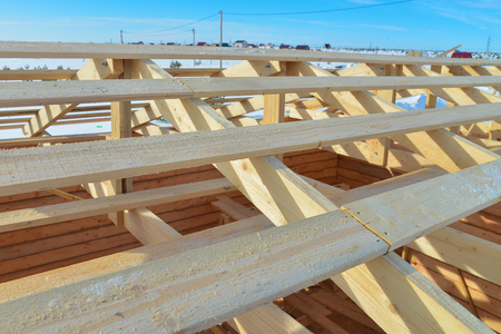 Details of construction wooden roof, roofing timber structure system. Stock Photo