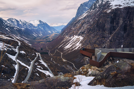 Overview of The Trolls Road - one of the most famous National Tourist Routes in Norway, Trollstigen. Amazing mountain landscape.