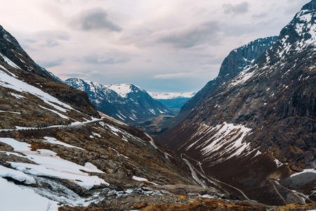 Trolls road in Norway - mountain route of Trollstigen Banco de Imagens