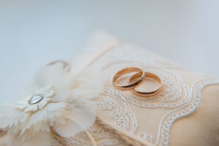 Two golden wedding rings on a lace pad