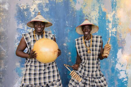 african drummers playing music on traditional musical instruments