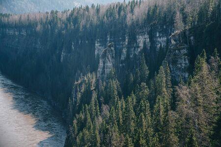 Beautiful landscape: forest and rocks near river Usva, Perm Krai