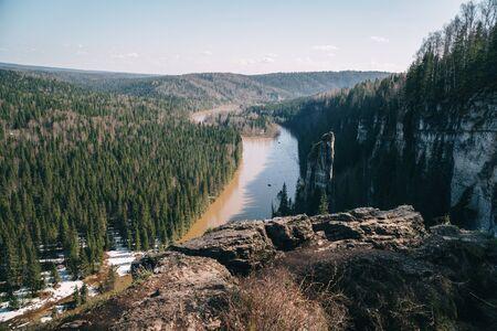 Beautiful landscape: forest and rocks near river Usva, Perm Krai Stock fotó - 140185097