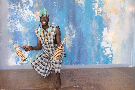 African musician with traditional clothes and musical instruments Standard-Bild