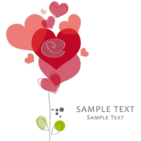 Greeting Card Lovehearts Vector
