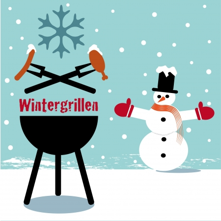 Winter barbecue blue Vector