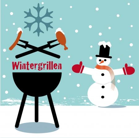 Winter barbecue blue