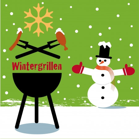 Winter barbecue green Illustration