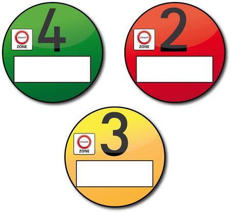 traffic police: Feinstaubplakette Illustration