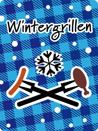 winter grilling plaid Vector