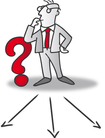 interrogation: businessman choosing direction Illustration