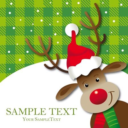cute reindeer greeting card, space, Xmas