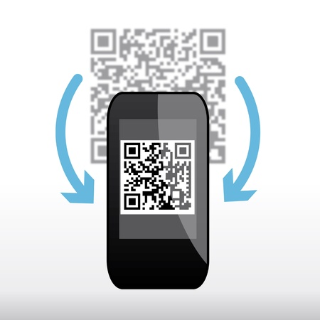 quickly: Scanning QR code with mobile phone Illustration