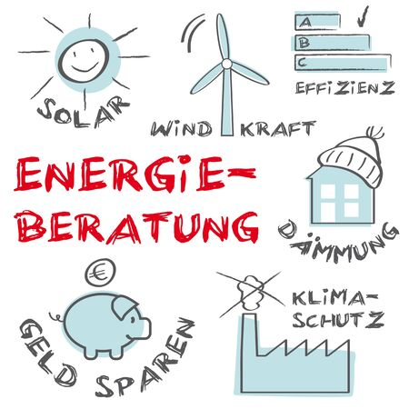 Energy consulting energy saving energy efficiency - energy consulting Vector