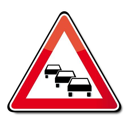 slow down: Stau Verkehrsschild