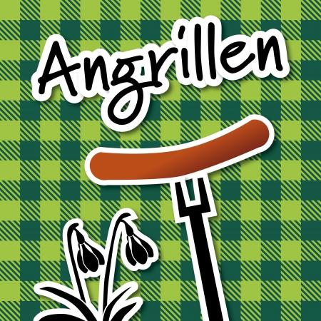 winter grilling: Angrillen, winter bbq Illustration