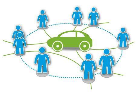 Carsharing, Autoteilen, Statdteilauto, Symbol Illustration