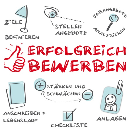 Erfolgreich bewerben, Successful application Illustration
