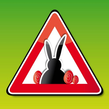 easter sign: Achtung Ostern, Attention Easter, sign, button Illustration