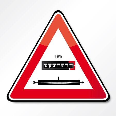 energy costs: Symbol power saving traffic sign,
