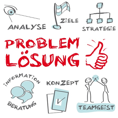 Probleml&ouml,sung, Solution of problems, problem solving analysis Stock Vector - 17094568