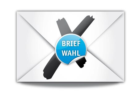 absentee: Absentee ballot, envelope, Briefwahl Illustration