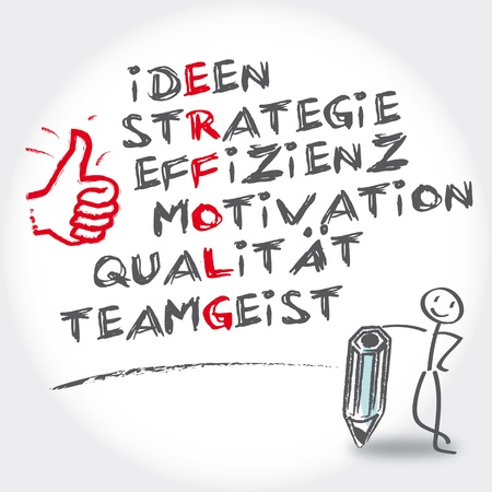 Success ideas, strategy, motivation, team spirit, quality keywords