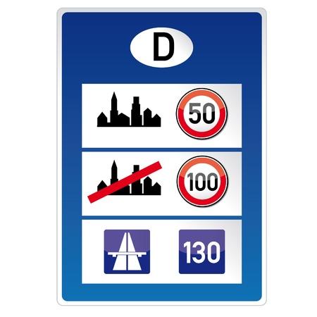 fcc: Tempolimit, Germany, border, holiday, vacation, road sign Illustration