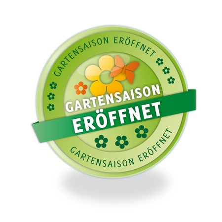 Gartensaison eröffnet button Illustration