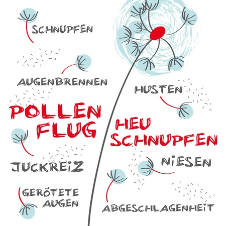 Heuschnupfen, Pollenflug, Allergie Illustration