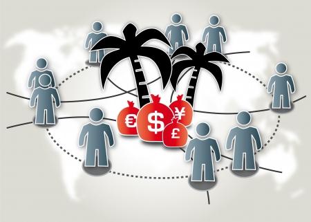 Steueroase offshore-lekken Steuerparadies Vector Illustratie