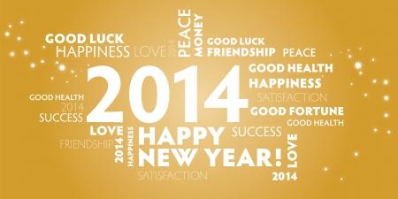 欲望: 2014 年、幸せな新しい年の最高の願い、ゴールド カードの Greetin