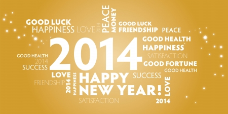 2014, happy new year, best wishes, gold Greetin Card Illustration