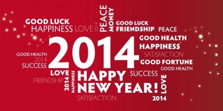 2014, felice anno nuovo, auguri, frohes neues Jahr Vettoriali