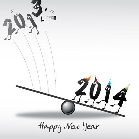 jahreswechsel: 2014 felice anno nuovo, auguri, natale Vettoriali