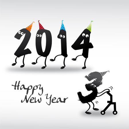 contentment: 2014 happy new year; Greeting Card Illustration