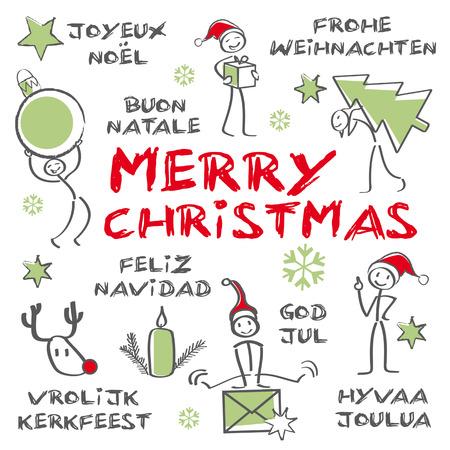 estrella de navidad: Feliz Navidad multiling�e, certificado de regalo, verde Vectores
