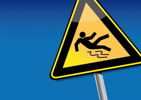 hazard symbol: Rutschgefahr, ausrutschen, slipping Illustration