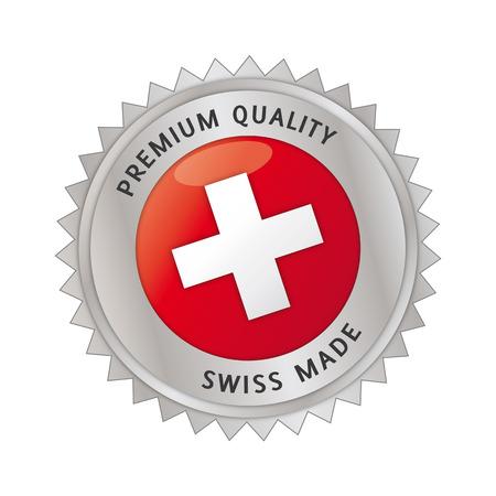 Swiss Made, gemaakt in zwitserland, Siegel, Button, suisse Vector Illustratie