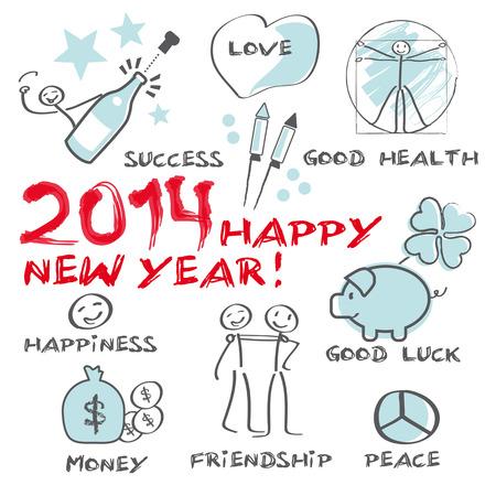 2014 guten Rutsch ins Neue Jahr Grußkarte