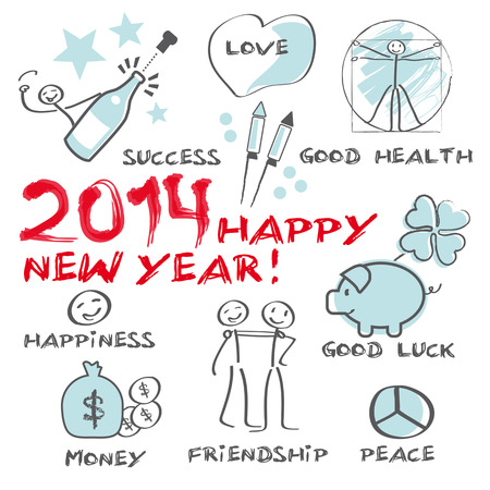 2014 Happy New Year Greeting Card Stock Vector - 22773577