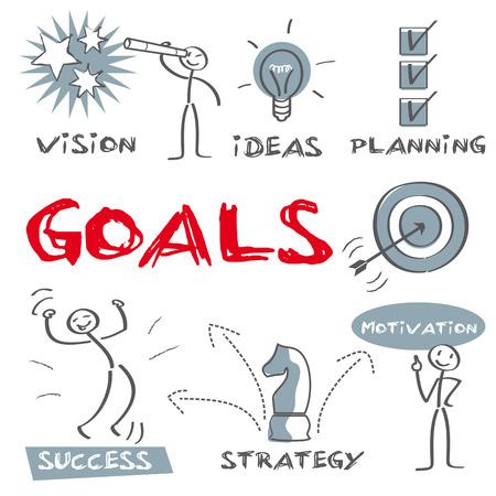 Obiettivi, successo Vettoriali