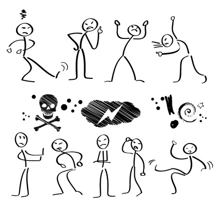 stickman: Emotie, emoties, emoticon Stock Illustratie