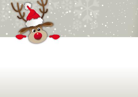 Weihnachts-Grußkarte mit Rentier Weihnachtsmütze aus Winterlandschaft mit Blick auf Werbeflächen Standard-Bild - 24441363