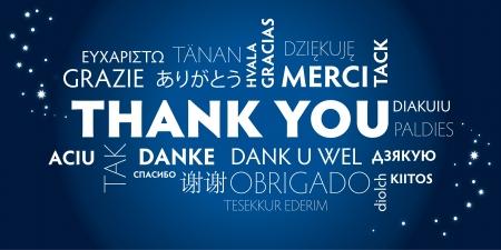 dank u: Dank u Wolk van Word in verschillende talen Stock Illustratie