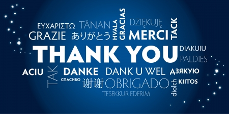 Grazie Nube Word in diverse lingue Vettoriali