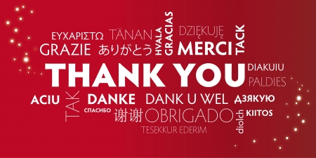 translating: Thank You Word Cloud in different languages