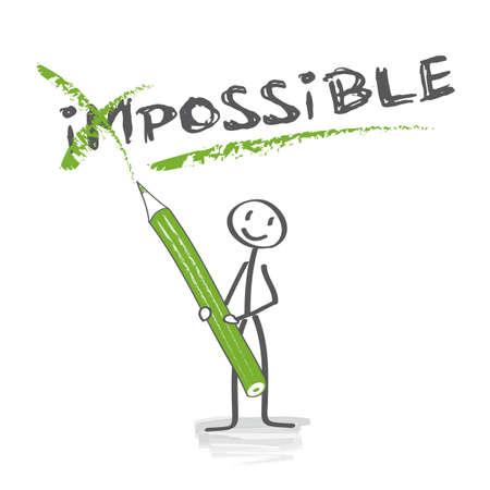 Positief denken Motivatie met stok figuur